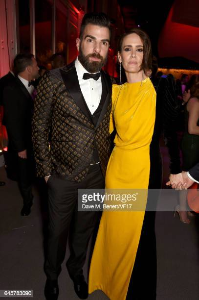Actors Zachary Quinto and Sarah Paulson attend the 2017 Vanity Fair Oscar Party hosted by Graydon Carter at Wallis Annenberg Center for the...
