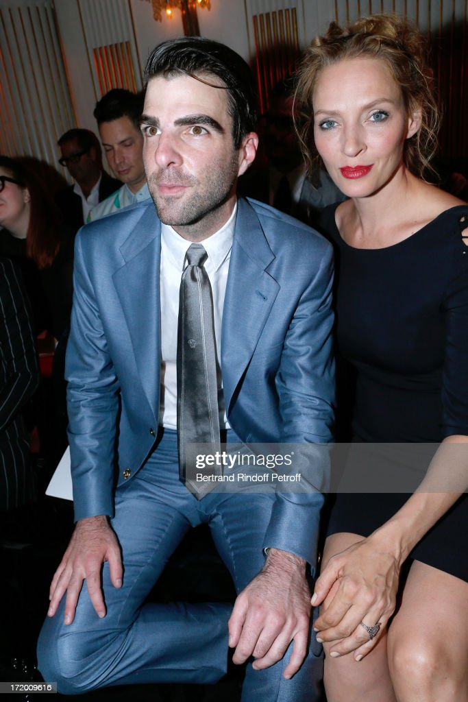Actors <a gi-track='captionPersonalityLinkClicked' href=/galleries/search?phrase=Zachary+Quinto&family=editorial&specificpeople=715956 ng-click='$event.stopPropagation()'>Zachary Quinto</a> and <a gi-track='captionPersonalityLinkClicked' href=/galleries/search?phrase=Uma+Thurman&family=editorial&specificpeople=171973 ng-click='$event.stopPropagation()'>Uma Thurman</a> attend the Versace show as part of Paris Fashion Week Haute-Couture Fall/Winter 2013-2014 at on June 30, 2013 in Paris, France.