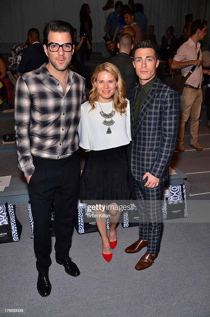 Actors <a gi-track='captionPersonalityLinkClicked' href=/galleries/search?phrase=Zachary+Quinto&family=editorial&specificpeople=715956 ng-click='$event.stopPropagation()'>Zachary Quinto</a>, Celia Keenan-Bolger, and <a gi-track='captionPersonalityLinkClicked' href=/galleries/search?phrase=Colton+Haynes&family=editorial&specificpeople=4282136 ng-click='$event.stopPropagation()'>Colton Haynes</a> attend the Richard Chai -- Love & Richard Chai Men's show during Spring 2014 Mercedes-Benz Fashion Week at The Stage at Lincoln Center on September 5, 2013 in New York City.