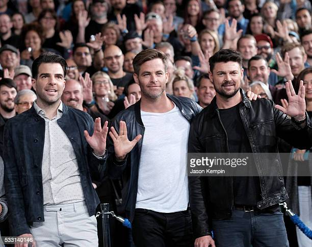 Actors Zachary Quinto Chris Pine and Karl Urban attend the unveiling of the newly named 'Leonard Nimoy Way' during the Star Trek Beyond Fan Event at...