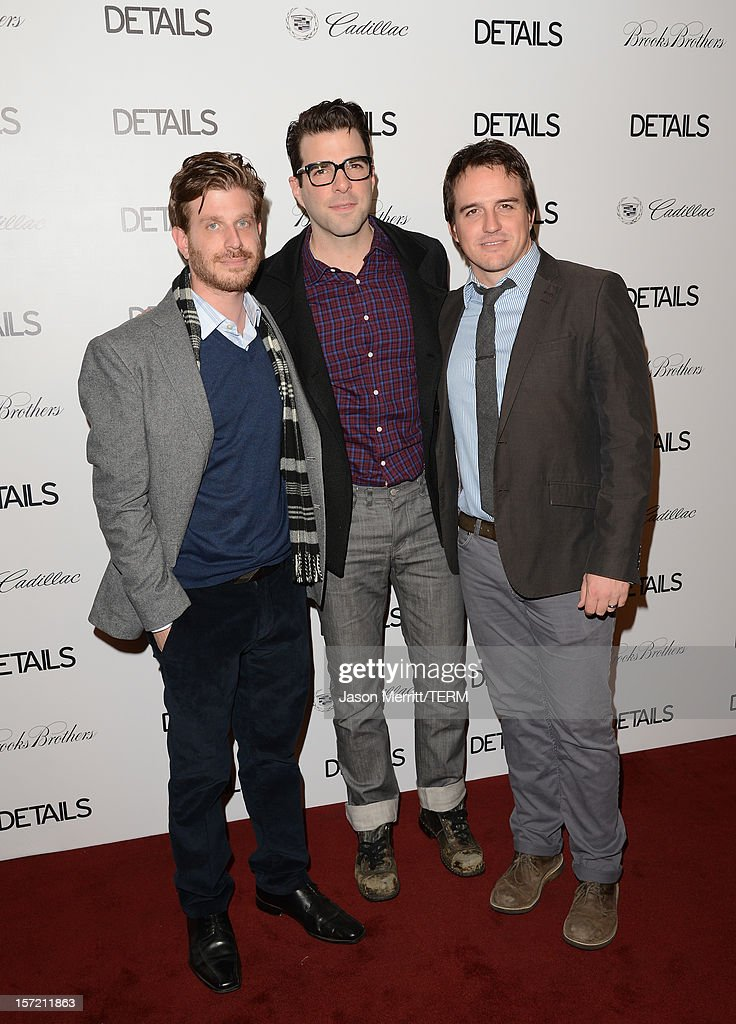 Actors <a gi-track='captionPersonalityLinkClicked' href=/galleries/search?phrase=Zachary+Quinto&family=editorial&specificpeople=715956 ng-click='$event.stopPropagation()'>Zachary Quinto</a>, Corey Moosa, and Neal Dodson attend the DETAILS Hollywood Mavericks Party held at Soho House on November 29, 2012 in West Hollywood, California.