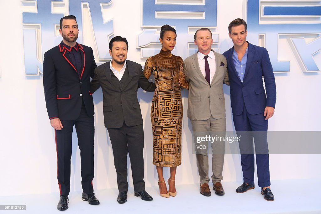 Actors Zachary Quinto director Justin Lin Zoe Saldana Simon Pegg and Chris Pine attend 'Star Trek Beyond' red carpet at Indigo Mall on August 18 2016...