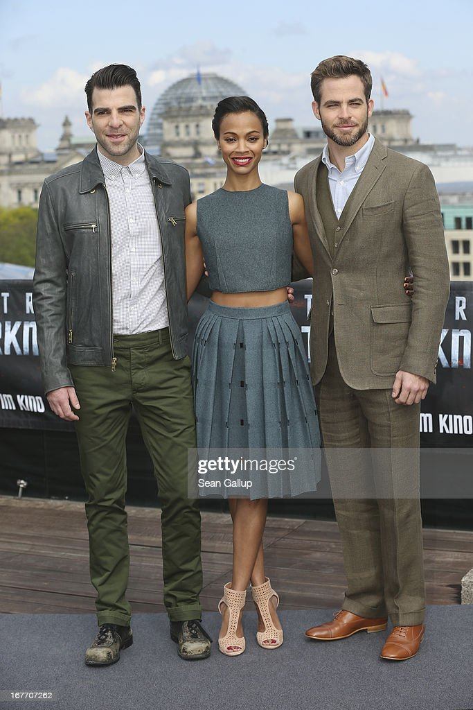Actors <a gi-track='captionPersonalityLinkClicked' href=/galleries/search?phrase=Zachary+Quinto&family=editorial&specificpeople=715956 ng-click='$event.stopPropagation()'>Zachary Quinto</a>, <a gi-track='captionPersonalityLinkClicked' href=/galleries/search?phrase=Zoe+Saldana&family=editorial&specificpeople=542691 ng-click='$event.stopPropagation()'>Zoe Saldana</a> and <a gi-track='captionPersonalityLinkClicked' href=/galleries/search?phrase=Chris+Pine&family=editorial&specificpeople=641995 ng-click='$event.stopPropagation()'>Chris Pine</a> attend the 'Star Trek Into Darkness' Photocall at China Club on April 28, 2013 in Berlin, Germany.