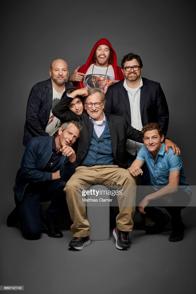 Actors Zak Penn, Ben Mendelsohn, Olivia Cooke, director Steve Spielberg, TJ Miller, author Ernest Cline and Tye Sheridan from Ready Player One are photographed for Entertainment Weekly Magazine on July 22, 2017 at Comic Con in San Diego, California. PUBLISHED