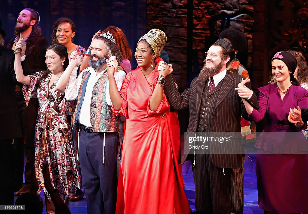 Actors Zarah Mahler, Eric Anderson, Amber Iman, Richard Cerato and Jacqueline Antaramian participate in the curtain call for the Broadway opening night of 'Soul Doctor' at the Circle in the Square Theatre on August 15, 2013 in New York City.
