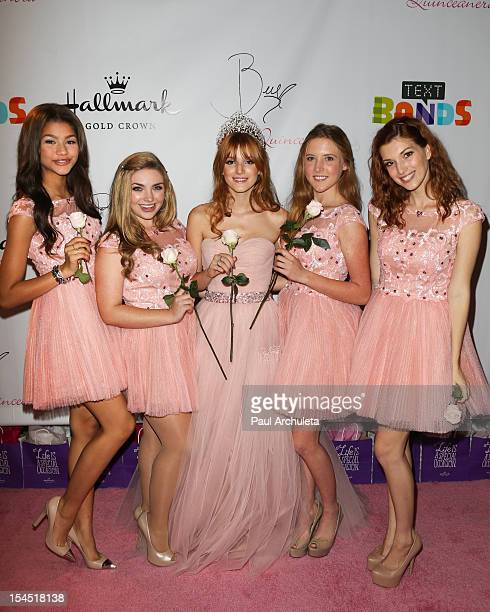 Actors Zendaya Kailey Swanson Bella Thorne Bella Pendergast and Dani Thorne attends Bella Thorne's Quinceanera and 15th birthday party at Siren...