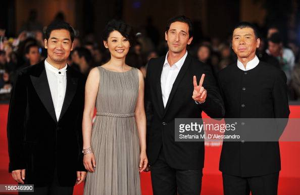 Actors Zhang Guo Li Xu Fan Adrien Brody and director Feng Xiaogang attend the 'Back To 1942' Premiere during the 7th Rome Film Festival at the...