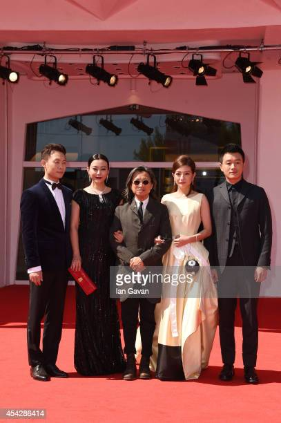 Actors Zhang Yi Hao Lei director Peter Hosun Chan and actors Zhao Wei and Tong Dawei attend the 'Dearest' premiere during the 71st Venice Film...