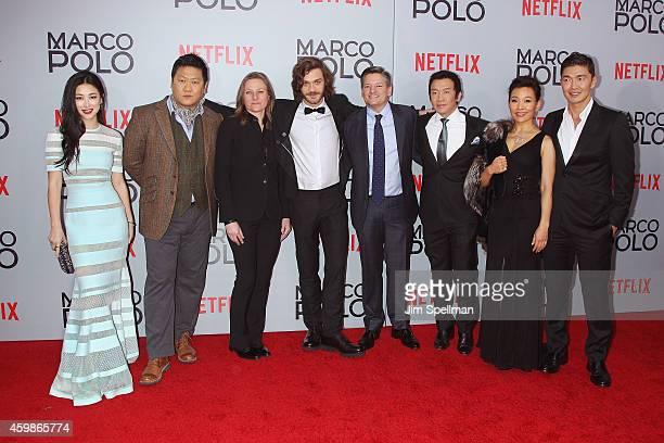 Actors Zhu Zhu Benedict Wong vice president of Netflix's Original Content Cindy Holland actor Lorenzo Richelmy Netflix chief content officer Ted...