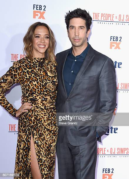 Actors Zoe Buckman and David Schwimmer attend the premiere of 'FX's 'American Crime Story The People V OJ Simpson' at Westwood Village Theatre on...