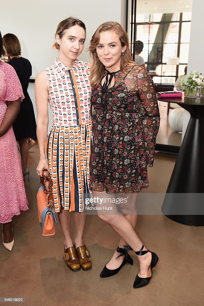 Actors Zoe Kazan (L) and Morgan Saylor attend a luncheon hosted by Glamour and Facebook to discuss the 2016 election at Samsung 837 in NYC on July 11, 2016 in New York City.