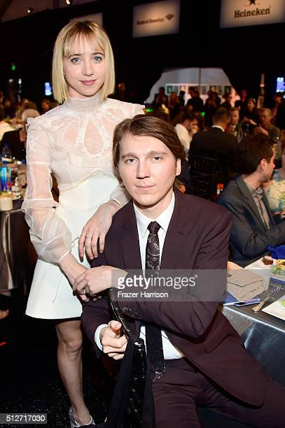 Actors Zoe Kazan and Paul Dano attend the 2016 Film Independent Spirit Awards on February 27 2016 in Santa Monica California