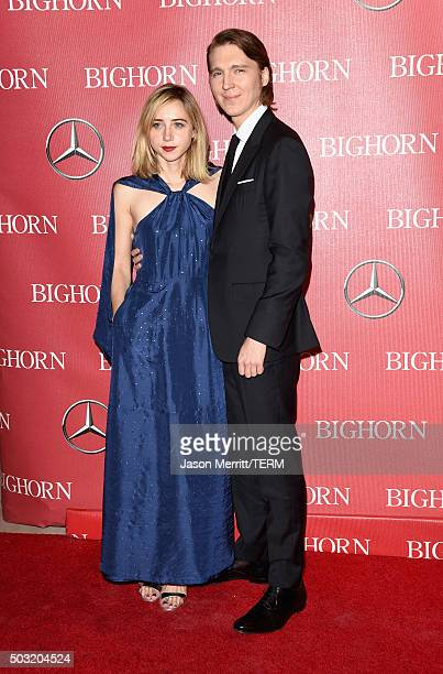 Actors Zoe Kazan and Paul Dano attend the 27th Annual Palm Springs International Film Festival Awards Gala at Palm Springs Convention Center on...