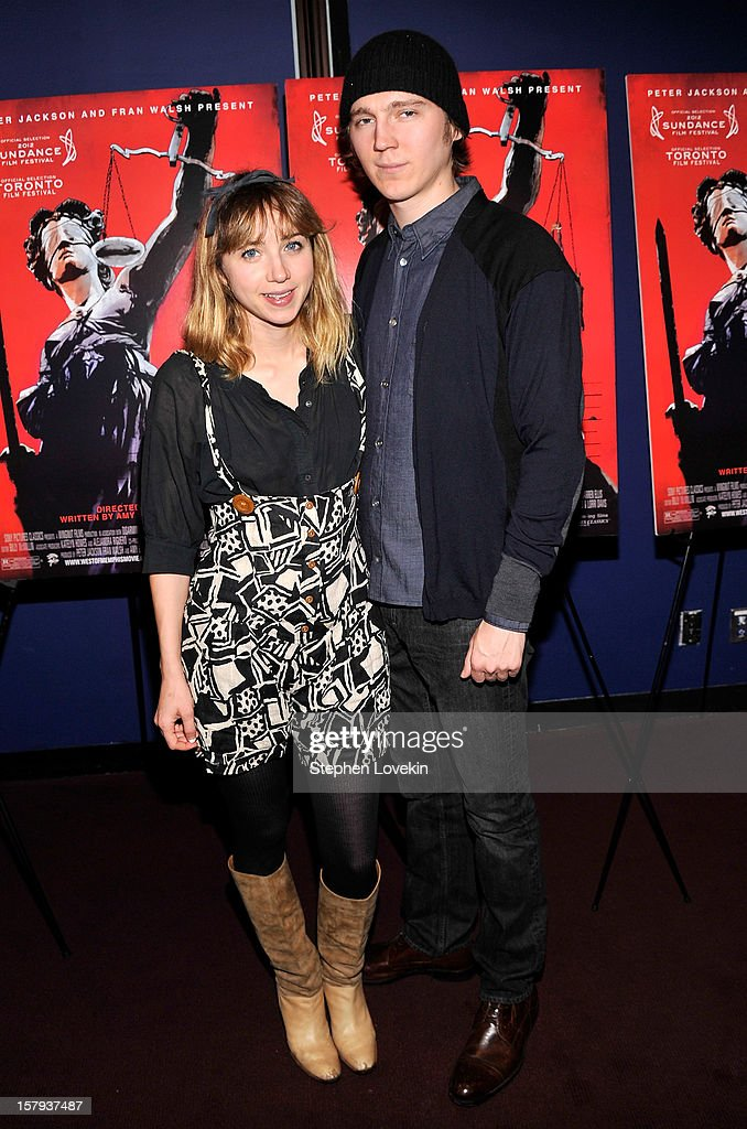 Actors Zoe Kazan and <a gi-track='captionPersonalityLinkClicked' href=/galleries/search?phrase=Paul+Dano&family=editorial&specificpeople=550442 ng-click='$event.stopPropagation()'>Paul Dano</a> attend the New York premiere of 'West Of Memphis' at Florence Gould Hall on December 7, 2012 in New York City.