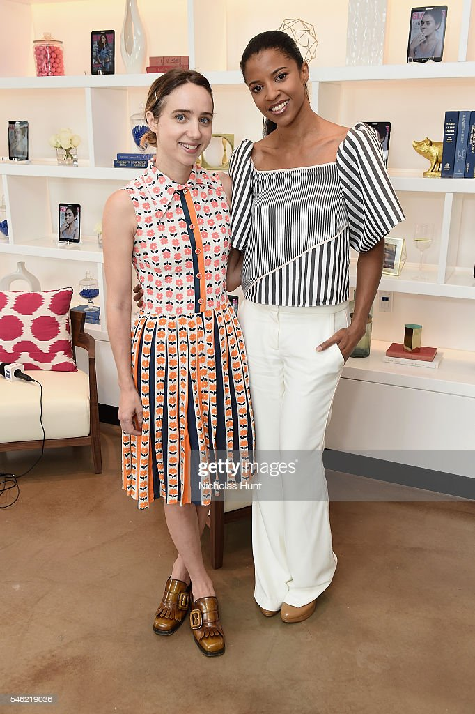Actors Zoe Kazan (L) and Renee Elise Goldsberry attend a luncheon hosted by Glamour and Facebook to discuss the 2016 election at Samsung 837 in NYC on July 11, 2016 in New York City.