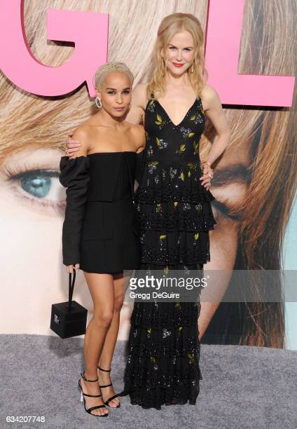 Actors Zoe Kravitz and Nicole Kidman arrive at the premiere of HBO's 'Big Little Lies' at TCL Chinese Theatre on February 7 2017 in Hollywood...