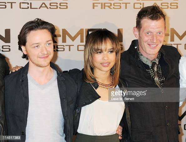 Actors Zoe Kravitz James McAvoy and Jason Flemyng attend a photocall for XMen First Class at The Dorchester on May 23 2011 in London England