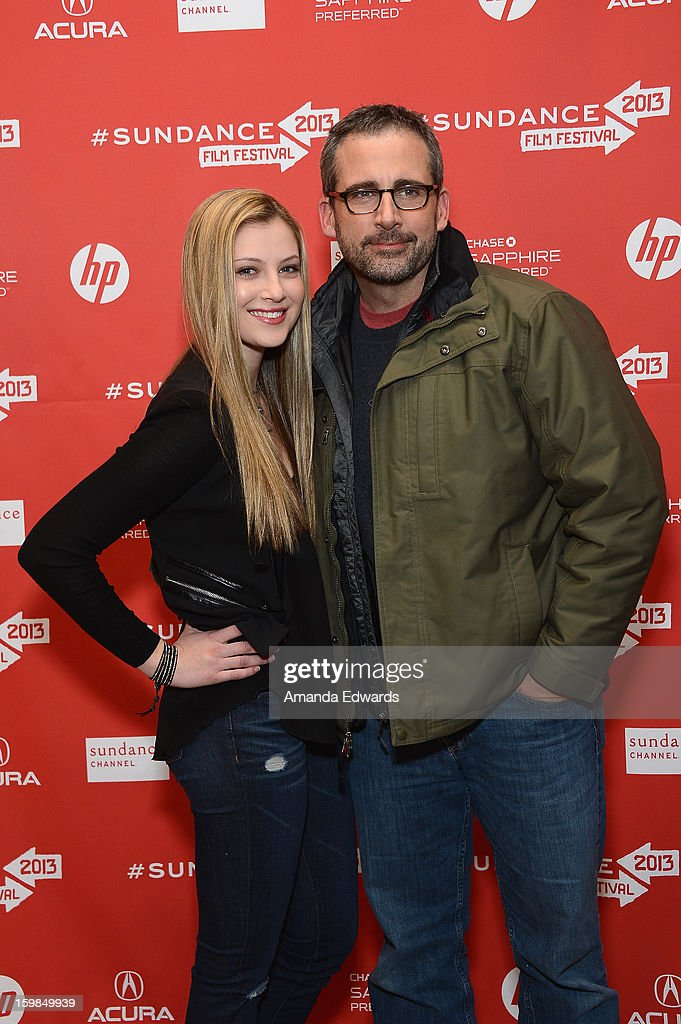 Actors Zoe Levin (L) and <a gi-track='captionPersonalityLinkClicked' href=/galleries/search?phrase=Steve+Carell&family=editorial&specificpeople=595491 ng-click='$event.stopPropagation()'>Steve Carell</a> attend the 'The Way, Way Back' premiere at Eccles Center Theatre during the 2013 Sundance Film Festival on January 21, 2013 in Park City, Utah.