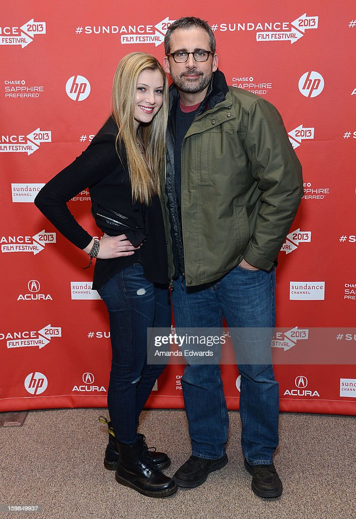 Actors Zoe Levin (L) and <a gi-track='captionPersonalityLinkClicked' href=/galleries/search?phrase=Steve+Carell&family=editorial&specificpeople=595491 ng-click='$event.stopPropagation()'>Steve Carell</a> attends the 'The Way, Way Back' premiere at Eccles Center Theatre during the 2013 Sundance Film Festival on January 21, 2013 in Park City, Utah.