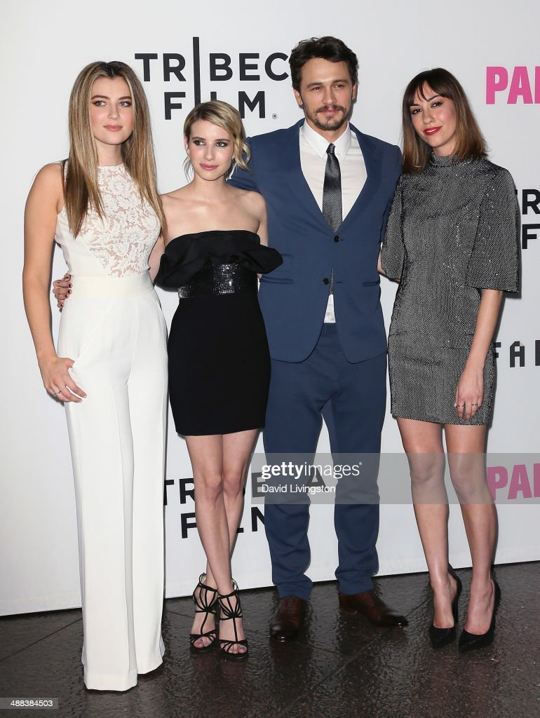 Actors <a gi-track='captionPersonalityLinkClicked' href=/galleries/search?phrase=Zoe+Levin&family=editorial&specificpeople=10130764 ng-click='$event.stopPropagation()'>Zoe Levin</a>, <a gi-track='captionPersonalityLinkClicked' href=/galleries/search?phrase=Emma+Roberts&family=editorial&specificpeople=226535 ng-click='$event.stopPropagation()'>Emma Roberts</a> and <a gi-track='captionPersonalityLinkClicked' href=/galleries/search?phrase=James+Franco&family=editorial&specificpeople=577480 ng-click='$event.stopPropagation()'>James Franco</a> and writer/director <a gi-track='captionPersonalityLinkClicked' href=/galleries/search?phrase=Gia+Coppola&family=editorial&specificpeople=3099216 ng-click='$event.stopPropagation()'>Gia Coppola</a> attend the premiere of Tribeca Film's 'Palo Alto' at the Directors Guild of America on May 5, 2014 in Los Angeles, California.