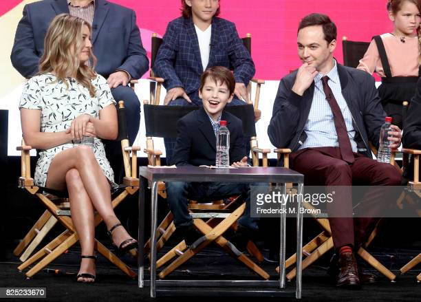 Actors Zoe Perry Iain Armitage and executive producer/narrator Jim Parsons of 'Young Sheldon' speak onstage during the CBS portion of the 2017 Summer...