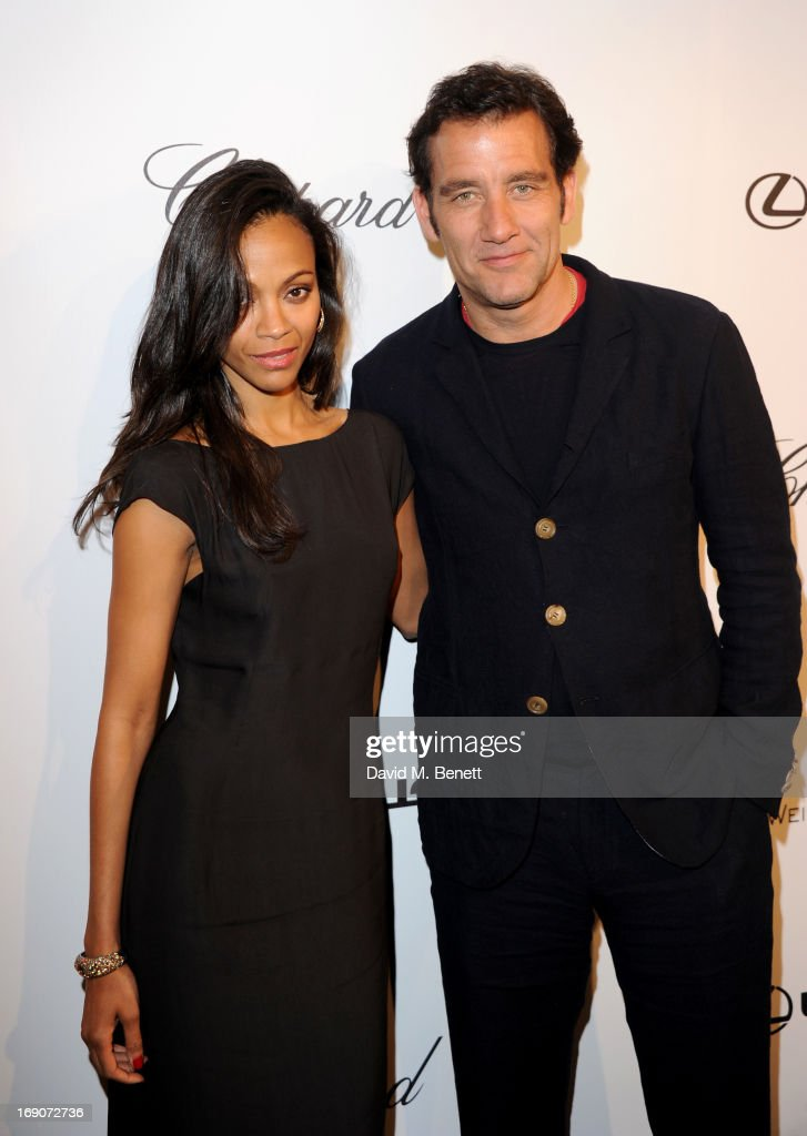 Actors <a gi-track='captionPersonalityLinkClicked' href=/galleries/search?phrase=Zoe+Saldana&family=editorial&specificpeople=542691 ng-click='$event.stopPropagation()'>Zoe Saldana</a> and <a gi-track='captionPersonalityLinkClicked' href=/galleries/search?phrase=Clive+Owen&family=editorial&specificpeople=201515 ng-click='$event.stopPropagation()'>Clive Owen</a> attend The Weinstein Company Party in Cannes hosted by Lexus and Chopard at Baoli Beach on May 19, 2013 in Cannes, France.