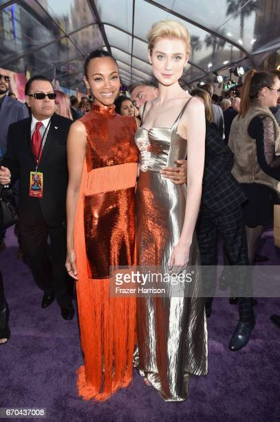 Actors Zoe Saldana and Elizabeth Debicki at the premiere of Disney and Marvel's 'Guardians Of The Galaxy Vol 2' at Dolby Theatre on April 19 2017 in...