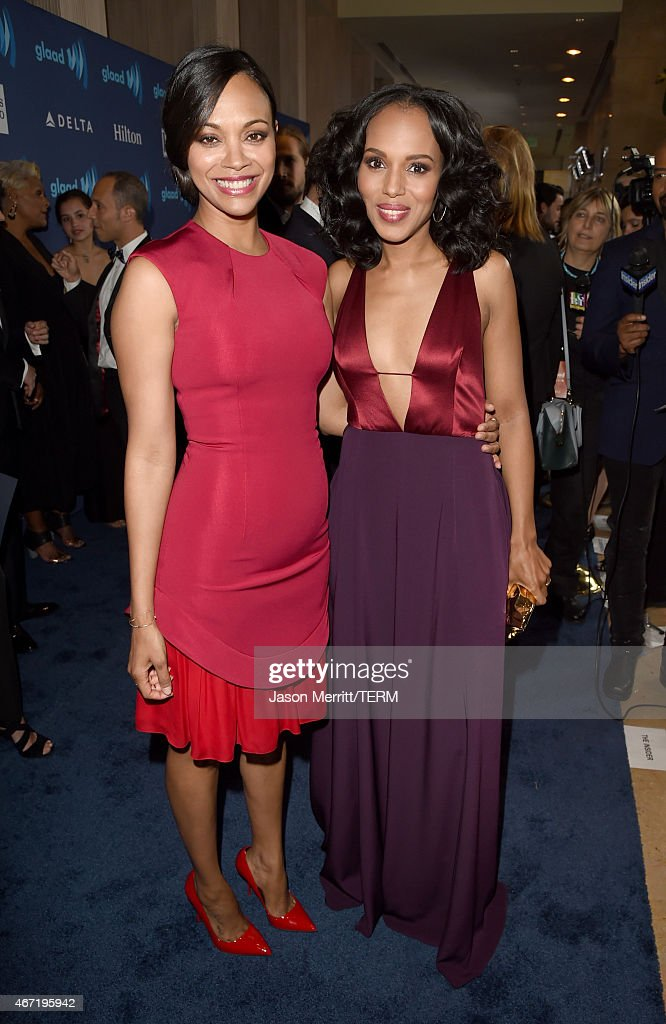 Actors Zoe Saldana (L) and Kerry Washington attend the 26th Annual GLAAD Media Awards at The Beverly Hilton Hotel on March 21, 2015 in Beverly Hills, California.