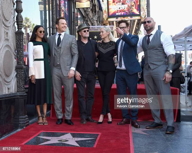Actors Zoe Saldana Chris Pratt Michael Rooker Pom Klementieff Writer/director James Gunn and actor Dave Bautista at Chris Pratt Honored With Star On...