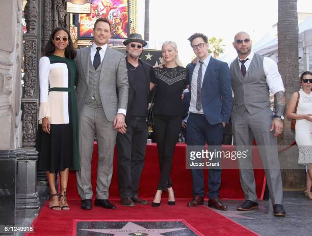 Actors Zoe Saldana Chris Pratt Michael Rooker Pom Klementieff Writer/director James Gunn and actor Dave Bautista at the Chris Pratt Walk Of Fame Star...