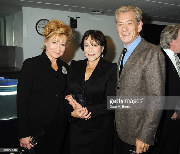 Actors Zoe Wanamaker Claire Bloom and Sir Ian McKellen attend the reception ahead of the London Evening Standard Theatre Awards at the Royal Opera...