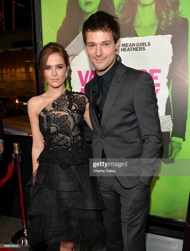 Actors <a gi-track='captionPersonalityLinkClicked' href=/galleries/search?phrase=Zoey+Deutch&family=editorial&specificpeople=4951672 ng-click='$event.stopPropagation()'>Zoey Deutch</a> (L) and Danila Kozlovsky arrive at The Weinstein Company's premiere of 'Vampire Academy' at Regal 14 at L.A. Live Downtown on February 4, 2014 in Los Angeles, California.