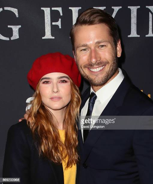 Actors Zoey Deutch and Glen Powell attend the premiere of Amazon's 'Last Flag Flying' at the DGA Theater on November 1 2017 in Los Angeles California
