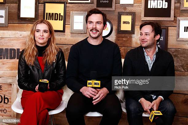 Actors Zoey Deutch Nicholas Hoult and director Danny Strong of 'Rebel in the Rye' attend The IMDb Studio featuring the Filmmaker Discovery Lounge...