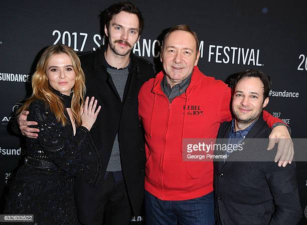 Actors Zoey Deutch Nicholas Hoult and Kevin Spacey and writer/director Danny Strong attend the 'Rebel In The Rye' Premiere at Eccles Center Theatre...