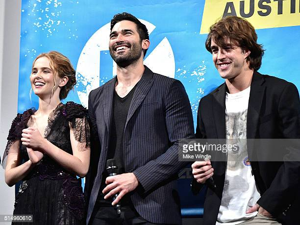 Actors Zoey Deutch Tyler Hoechlin and Temple baker attend the screening of 'Everybody Wants Some' during the 2016 SXSW Music Film Interactive...