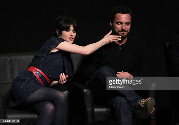 Actors Zooey Deschanel and Jake Johnson participate in FOX's season finale screening event with the cast and executive producers of 'New Girl' at the...