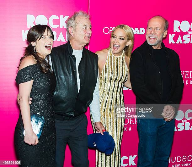 Actors Zooey Deschanel Bill Murray Kate Hudson and Bruce Willis attend the 'Rock The Kasbah' New York Premiere at AMC Loews Lincoln Square on October...