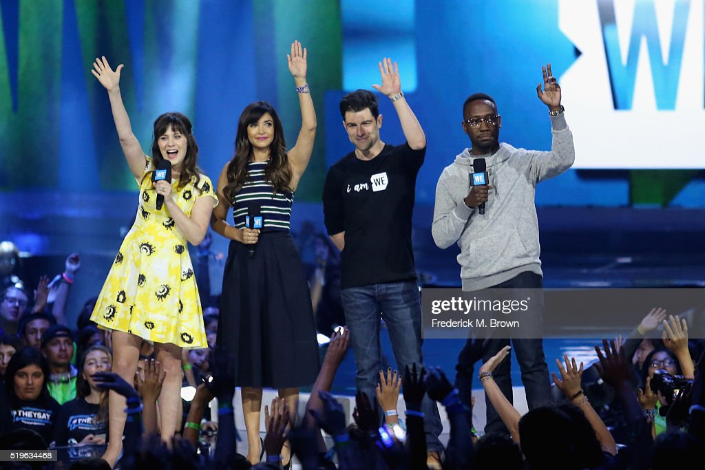 Actors Zooey Deschanel Hannah Simone Max Greenfield and Lamorne Morris speak onstage at WE Day California 2016 at The Forum on April 7 2016 in...