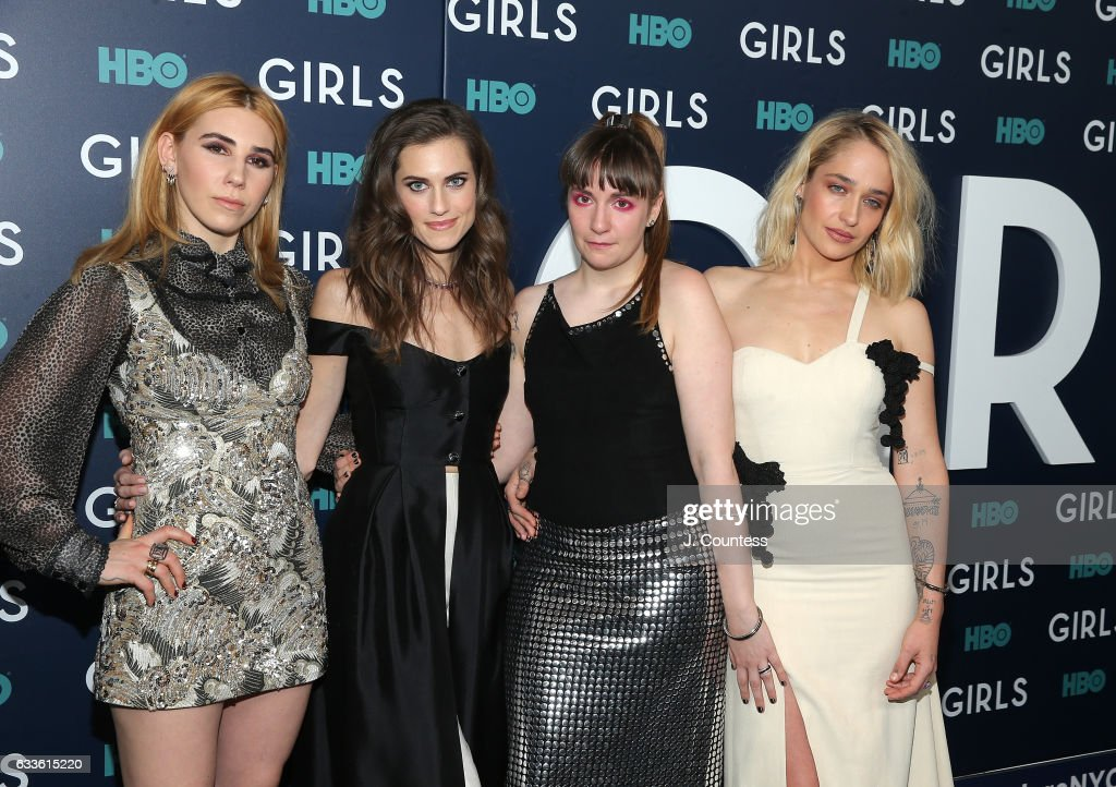 Actors Zosia Mamet, Allison Williams, Lena Dunham and Jemima Kirke attend the New York premiere of the sixth and final season of 'Girls' at Alice Tully Hall, Lincoln Center on February 2, 2017 in New York City.
