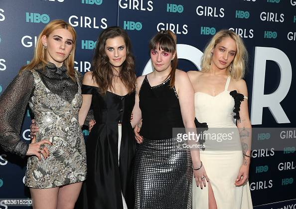 Actors Zosia Mamet Allison Williams Lena Dunham and Jemima Kirke attend the New York premiere of the sixth and final season of 'Girls' at Alice Tully...