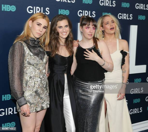 Actors Zosia Mamet Allison Williams Lena Dunham and Jemima Kirke attend The New York Premiere Of The Sixth Final Season Of 'Girls' at Alice Tully...