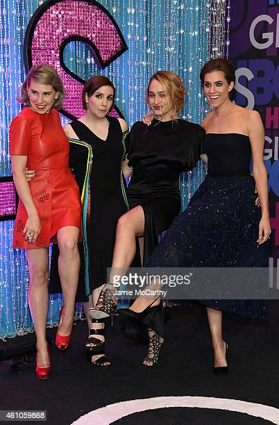 Actors Zosia Mamet Lena Dunham Allison Williams and Jemima Kirke attend the 'Girls' season four series premiere at American Museum of Natural History...