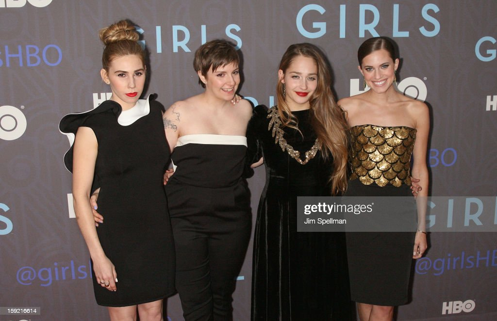 Actors <a gi-track='captionPersonalityLinkClicked' href=/galleries/search?phrase=Zosia+Mamet&family=editorial&specificpeople=7439328 ng-click='$event.stopPropagation()'>Zosia Mamet</a>, <a gi-track='captionPersonalityLinkClicked' href=/galleries/search?phrase=Lena+Dunham&family=editorial&specificpeople=5836535 ng-click='$event.stopPropagation()'>Lena Dunham</a>, <a gi-track='captionPersonalityLinkClicked' href=/galleries/search?phrase=Jemima+Kirke&family=editorial&specificpeople=7327464 ng-click='$event.stopPropagation()'>Jemima Kirke</a> and <a gi-track='captionPersonalityLinkClicked' href=/galleries/search?phrase=Allison+Williams+-+Actress&family=editorial&specificpeople=594198 ng-click='$event.stopPropagation()'>Allison Williams</a> attend Cinema Society presents the world premiere of 'Girls' season 2 at NYU Skirball Center on January 9, 2013 in New York City.