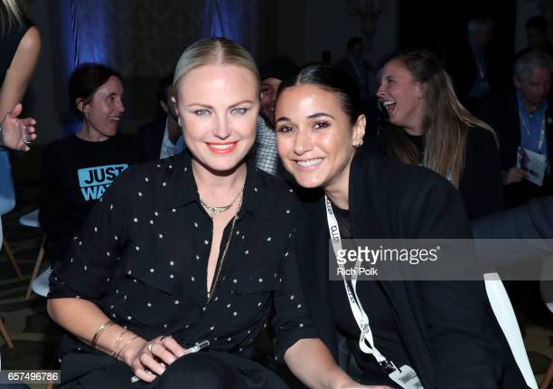 Actors/activists Malin Akerman and Emmanuelle Chriqui attend the EMA IMPACT Summit hosted by the Environmental Media Association presented by Toyota...