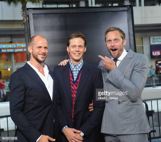 Actors/brothers Gustaf Skarsgard Bill Skarsgard and Alexander Skarsgard arrives for the Premiere Of Warner Bros Pictures And New Line Cinema's 'It'...