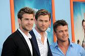 Actors/brothers Liam Hemsworth Luke Hemsworth and Chris Hemsworth arrive for the Premiere Of Warner Bros Pictures' 'Vacation' held at Regency Village...