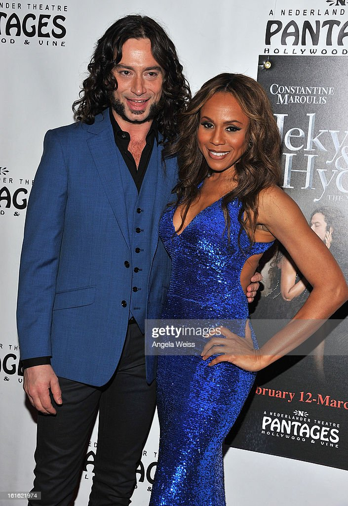 Actors/cast members Constantine Maroulis and Deborah Cox arrive at the opening night of 'Jekyll & Hyde' held at the Pantages Theatre on February 12, 2013 in Hollywood, California.