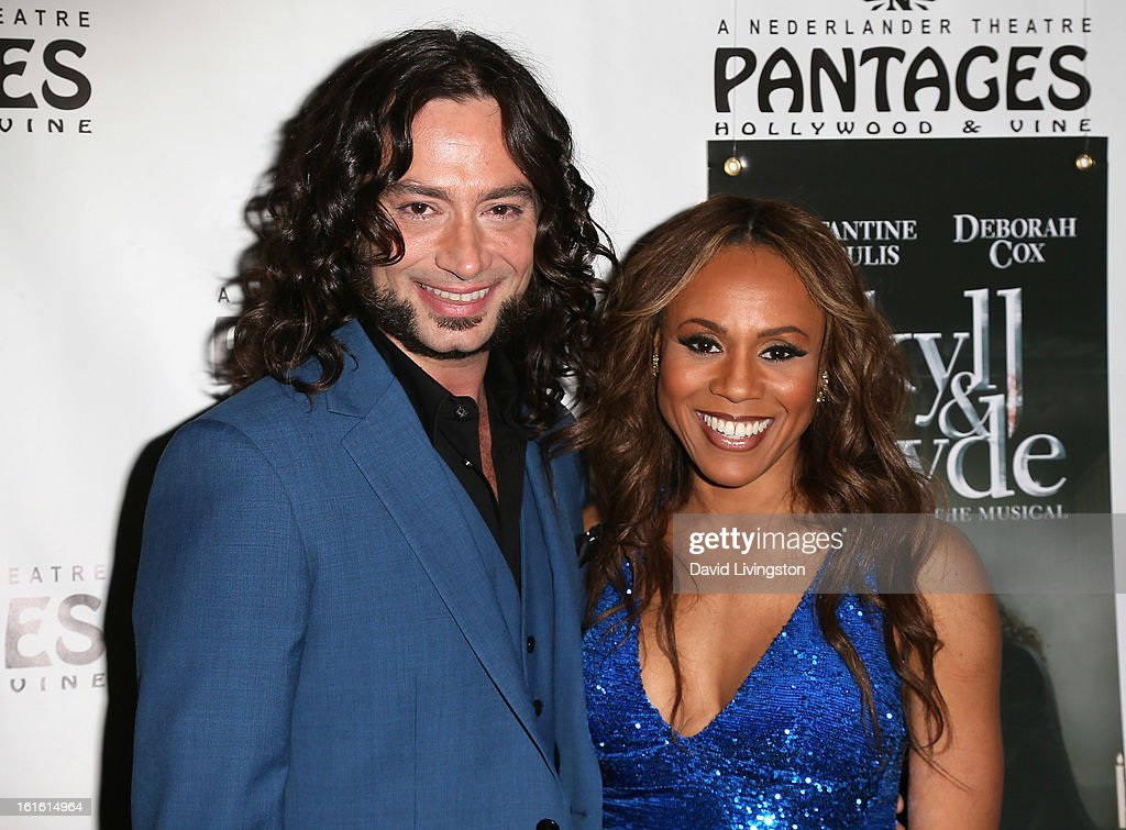 Actors/cast members Constantine Maroulis (L) and Deborah Cox pose at the opening night of 'Jekyll & Hyde' at the Pantages Theatre on February 12, 2013 in Hollywood, California.