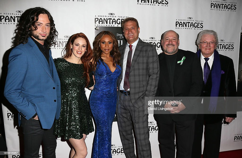 Actors/cast members Constantine Maroulis, Teal Wicks and Deborah Cox, director Jeff Calhoun, composer Frank Wildhorn and lyricist Leslie Bricusse pose at the opening night of 'Jekyll & Hyde' at the Pantages Theatre on February 12, 2013 in Hollywood, California.